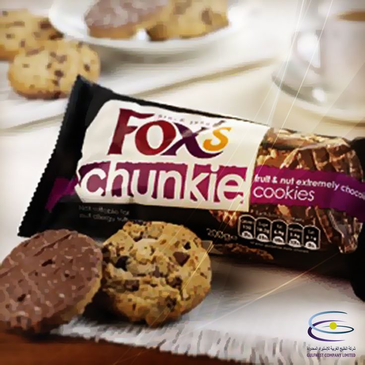 Fox's Fruit and Nut Chunkie Cookies...  Packed with raisins, hazelnuts and great big chocolate chunks, they're half-dipped in milk chocolate so they feel utterly luxurious  perfect for a mid-morning snack or a midnight bite...