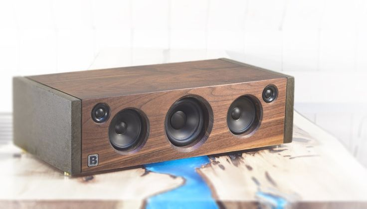 Model 5C is a powerful handmade high-end Bluetooth audio system.  Made of concrete and walnut. 160 watts of audio power. By PlanB Audio