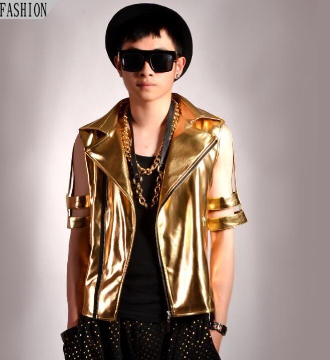 Personalized motorcycle mens leather jacket slim golden hollow coat jackets oblique zipper jaqueta de couro stage street dance