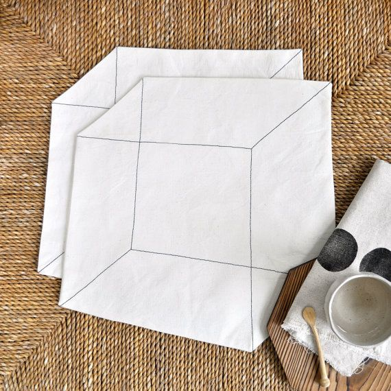 Cube Placemats  cotton canvas fabric with black by GrayGreenGoods