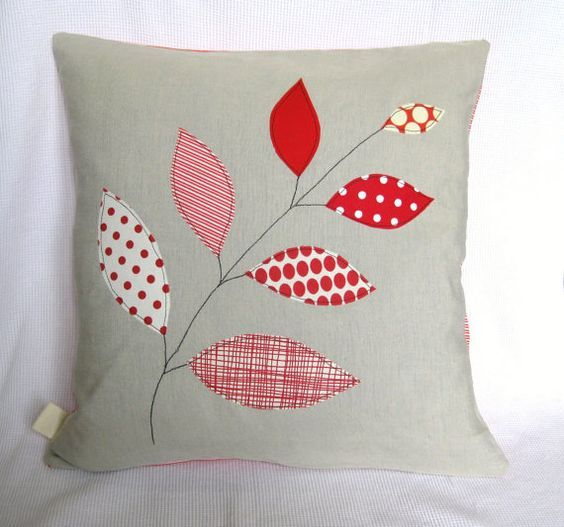 """Cushion cover, red leaves on a branch, free motion embroidery, linen, 16"""" / 40cm. Sold on Etsy by Tailorbirds £17.83:"""