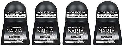 Narta – Déodorant Homme Bille Invisimax Efficacité 24h – 50 ml – Lot de 4: Anti-transpirant invisimax – Aqua/water, alcohol denat.,…