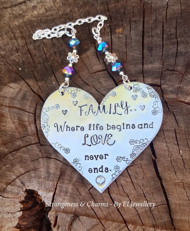 Hand Stamped 'Family' Large Heart Decoration, Stamped Metal, Stamped Metal Ornament, Metal Decoration, Family Love, Family Gift, Wall Art. by StrangenessCharmsELJ on Etsy https://www.etsy.com/listing/290473865/hand-stamped-family-large-heart