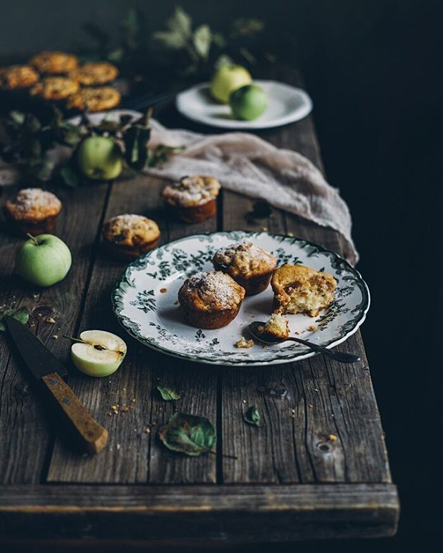 Apple oatmeal muffins with nutmeg and peanuts