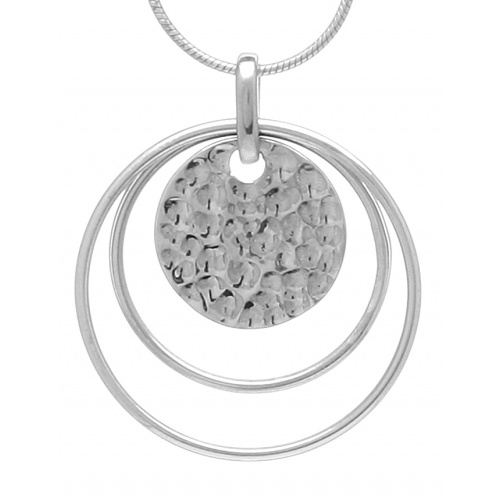 Simple beaten disc and link pendant on snake chain $75