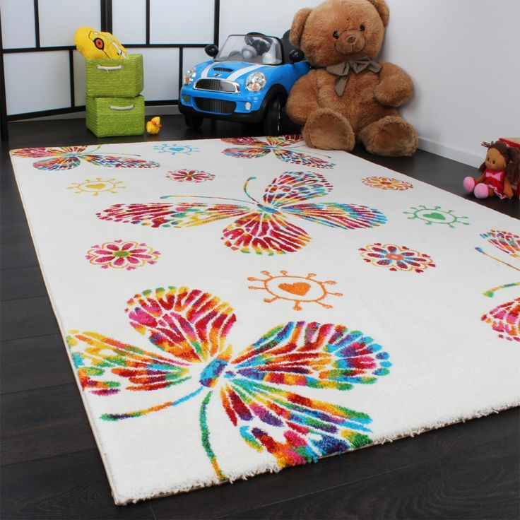 Fresh Moderner Kinder Teppich Butterfly Schmetterling Design Creme Bunt Top Qualit t Gr sse x cm
