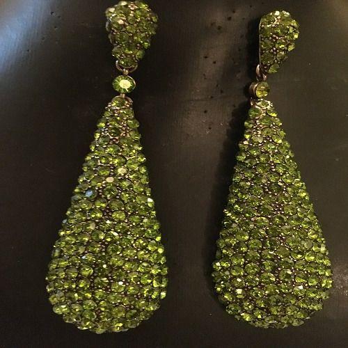 Crystal Earrings - Lime Green