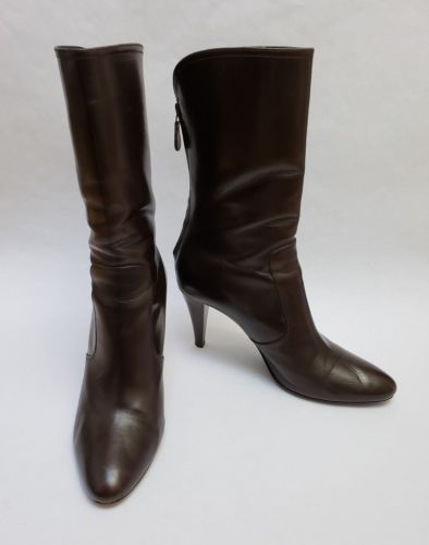 53a664492f Cole Haan Shoes Boots Heels Brown Zipper Pointy Toe Zipper Back Italy Size  8 B