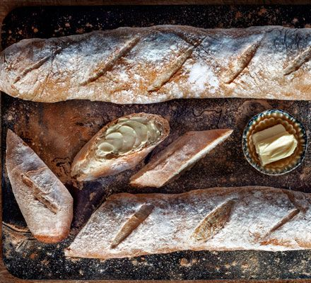Make fresh, French bread at home with this simple recipe - an overnight starter called a poolish gives a golden crust and chewy middle.
