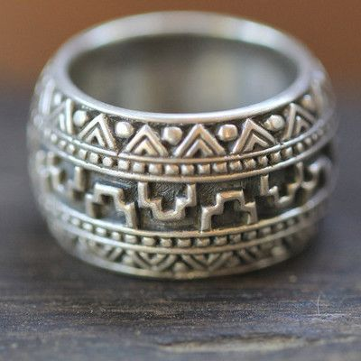 Aztec Style Silver Mens Ring: