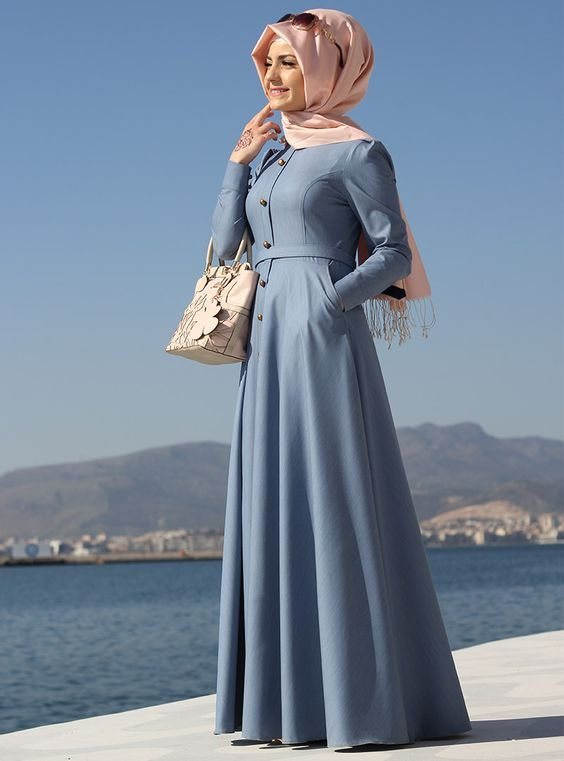Simple plain flare abaya is one of the modest Muslim girl's fashions that can groom up their gorgeou