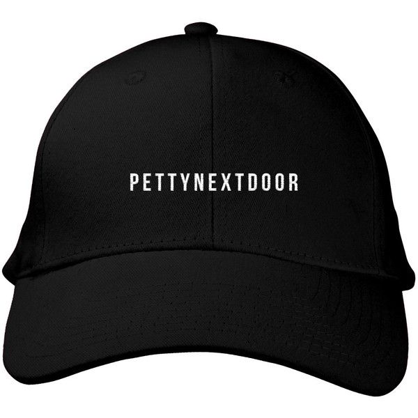 PETTYNEXTDOOR Black Polo Hat ($23) ❤ liked on Polyvore featuring accessories, hats, caps, embroidered baseball caps, embroidered hats, crown hat, low crown hats and ball cap