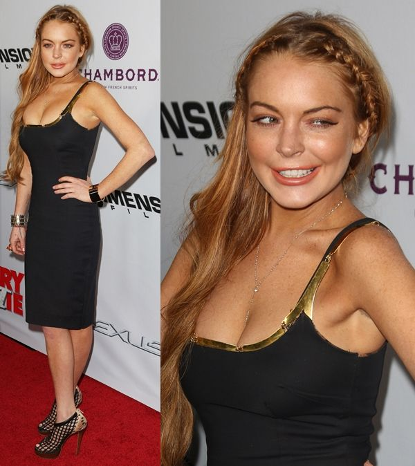 "Lindsay Lohan in Christian Louboutin ""Coussin"" booties at the premiere of 'Scary Movie 5' in Los Angeles, California, on April 11, 2013"