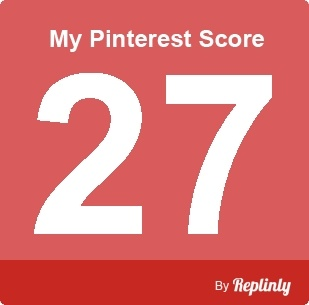 My Pinterest Score is 27 - click the image to calculate your own pinterest score. You follow the link to Repinly: then enter your email and username and your score will be calculated. Happy Pinning.