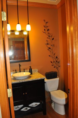 Modern Tuscan Renovated Bathroom. Replaced Oak Cabinets With A Simple Black  Cabinet, Granite Counter