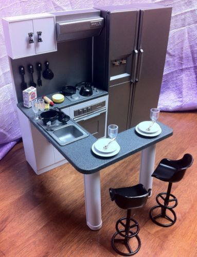 Cool!  OOAK BARBIE KITCHEN 1:6 SCALE FURNITURE BAR STOOLS DISHES FOOD ACCESSORIES