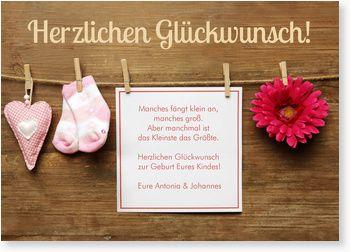 Glückwunschkarte zur Geburt - Wäscheleine