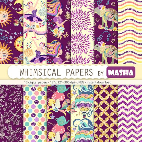 Fantasy papers: WHIMSICAL DIGITAL PAPERS with by MashaStudio #whimsical #digital #paper  #elephant #ballerina #graphics #illustration #sun #moon  #download #digital #fantasy #fantastic #glitter #pattern #patterns #background
