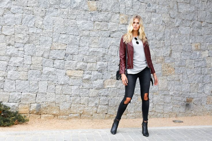 Spring fashion - ENA PELLY MINIMALIST BIKER JACKET IN BORDEAUX The Minimalist Biker Jacket is a timeless investment you'll treasure forever. Cut for a closer fit, this piece is crafted from textured leather and has an asymmetric zip fastening and silver hardware. Wear it over dresses or with denim and a tee for a more relaxed weekend look. #springsummer2017 #springstyle #springfashion