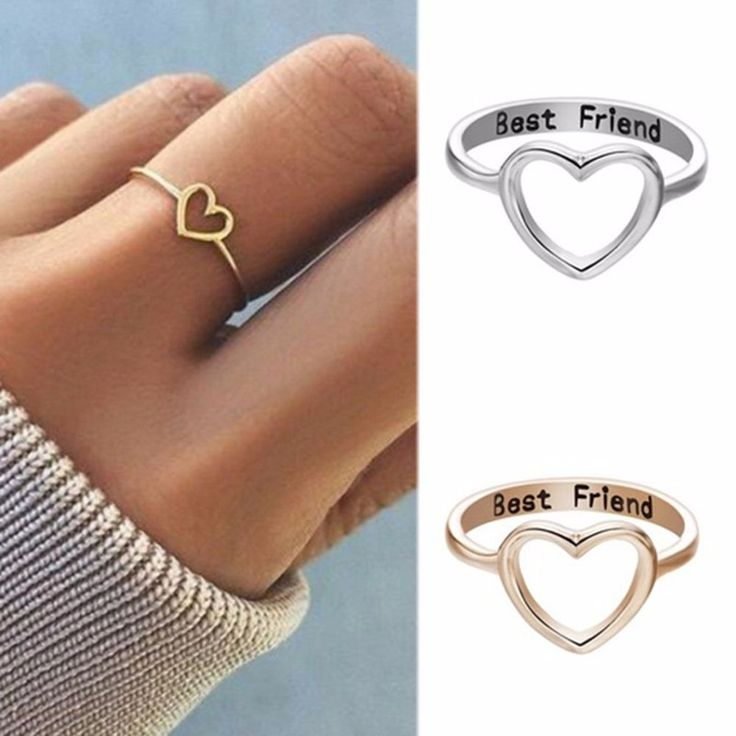 Women Love Heart Best Friend Ring Promise Jewelry Friendship Rings Bands US 7