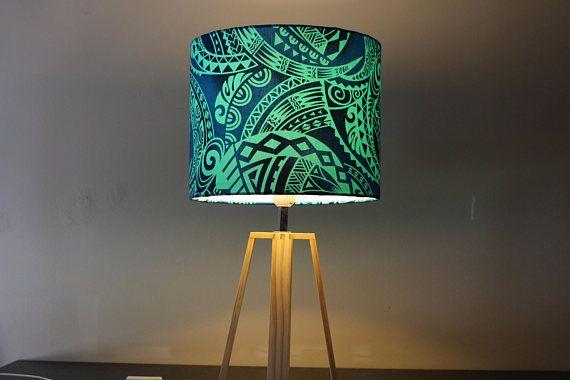 Ocean Blue Samoan Lamp Shade Inspired By Disney S Moana Lamp Makeover Boys Bedroom Makeover Tropical Lamp Shades