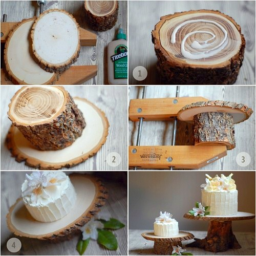 DIY: tree pedestal cake stand. I LOVE this!!!