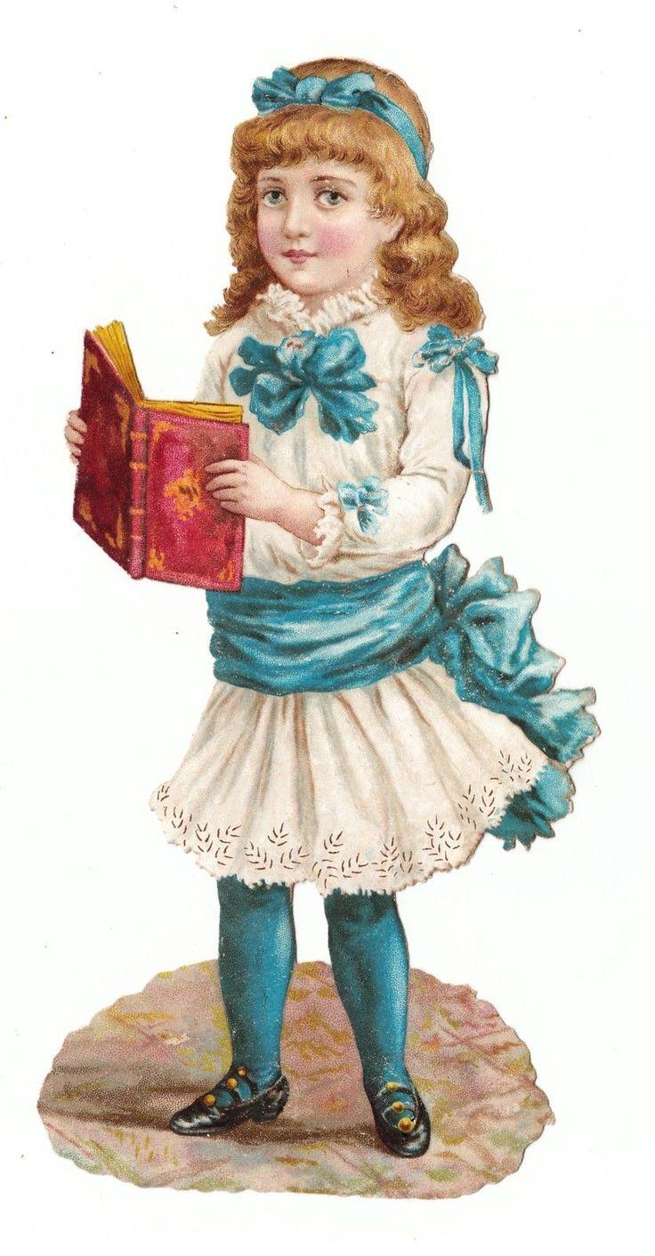 Oblaten Glanzbild scrap die cut chromo Mädchen mit Buch - 18 cm | eBay: