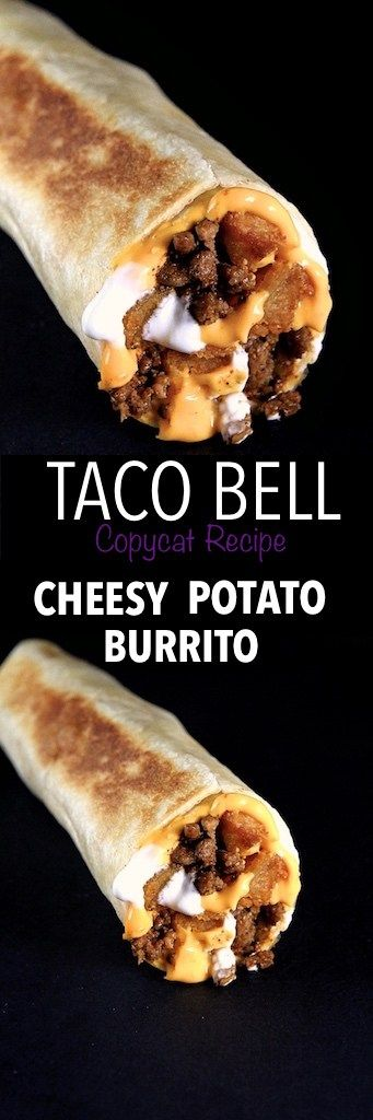 The Cheesy Potato Burrito from Taco Bell is filled with seasoned beef, cheese, sour cream and seasoned potato bites.