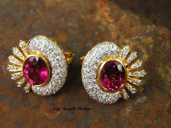 CLICK HERE TO BUY:  http://www.etsy.com/shop/kayknightdesigns  Statement Rubellite and diamond earrings by by kay knight designs, $3800.00