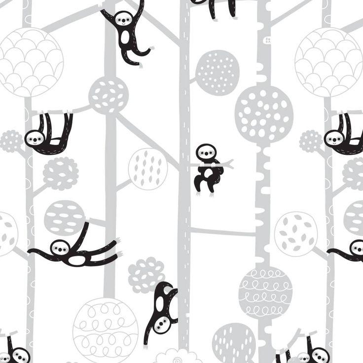 Bora behang kinderkamer - Luiaards (Sloths) - Lekker Retro