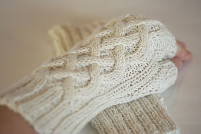 Ravelry: capovak's Cable Hand Warmers ~ Drops BabyAlpaca Silk ~ pattern by Purl Soho.