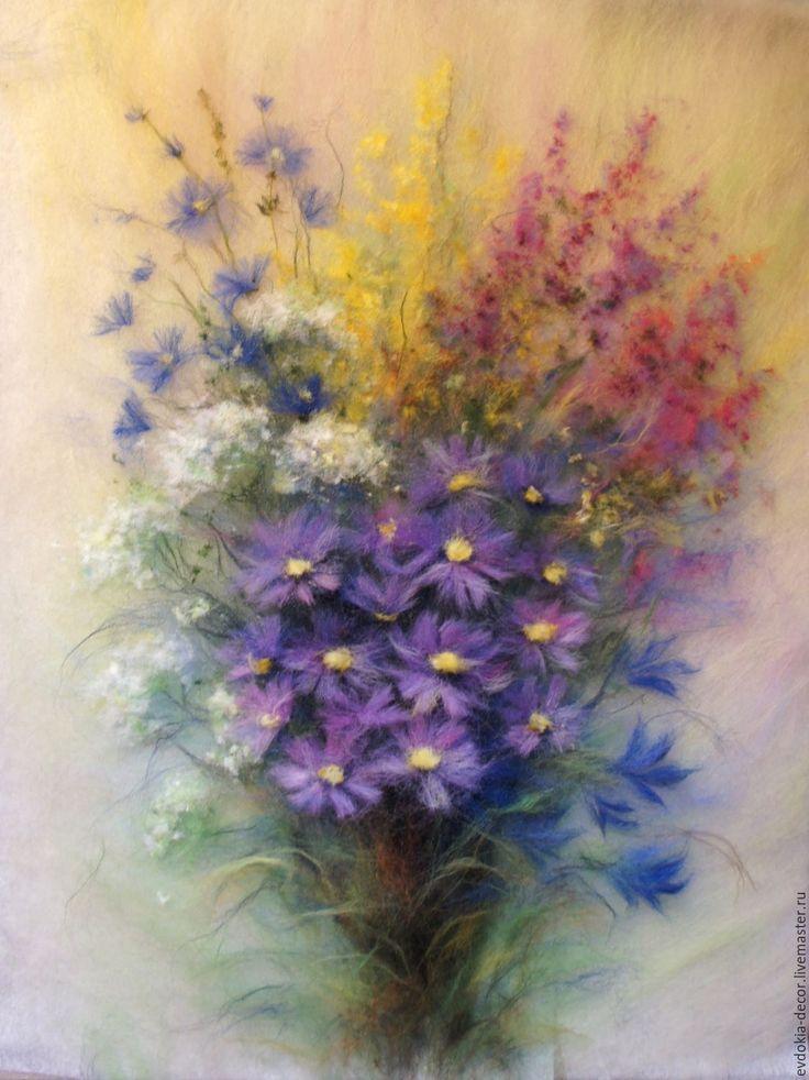 Купить Полевой букет-картина из шерсти - цветы, полевые цветы, картина в подарок, картина из шерсти
