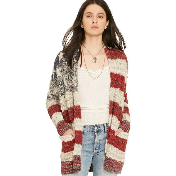Stars-and-Stripes Cardigan ($90) ❤ liked on Polyvore featuring tops, cardigans, striped cardigan, cardigan top, star print top, striped top and stripe cardigan