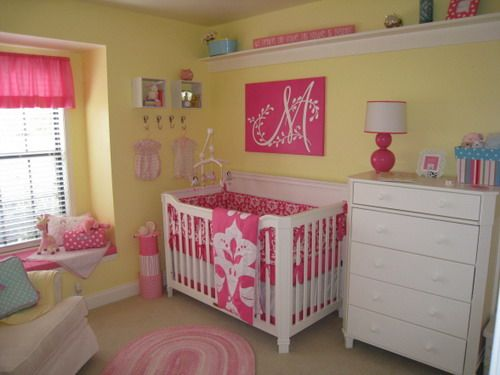 love the quot m quot canvas pink yellow bedroom pink and yellow 16698 | 75d95557290c8a329d35251a561b73db