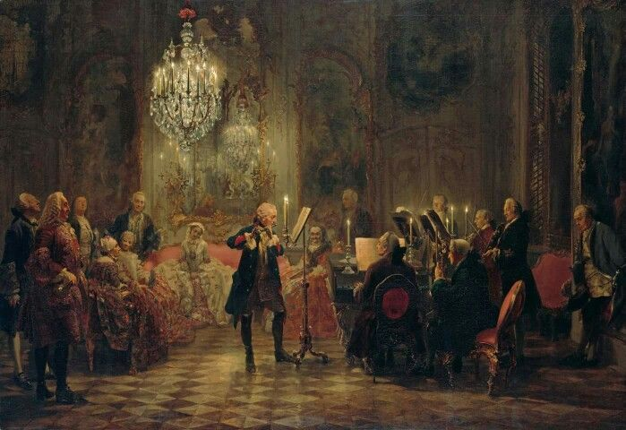 Frederick the Great pursuing his great love music, playing one of his own excellent compositions for the flute.