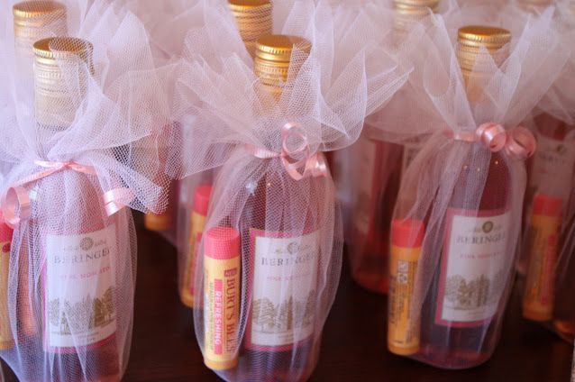 Cute bridal shower favor idea - mini wine bottles (or CHAMPS!) and chapstick or lip gloss! ( this picture was repined, not mine)
