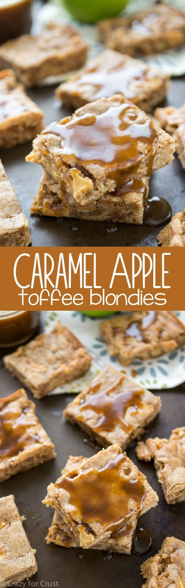 Caramel Apple Toffee Blondies - my favorite easy blondie recipe filled with toffee and apples and doused with homemade caramel sauce!