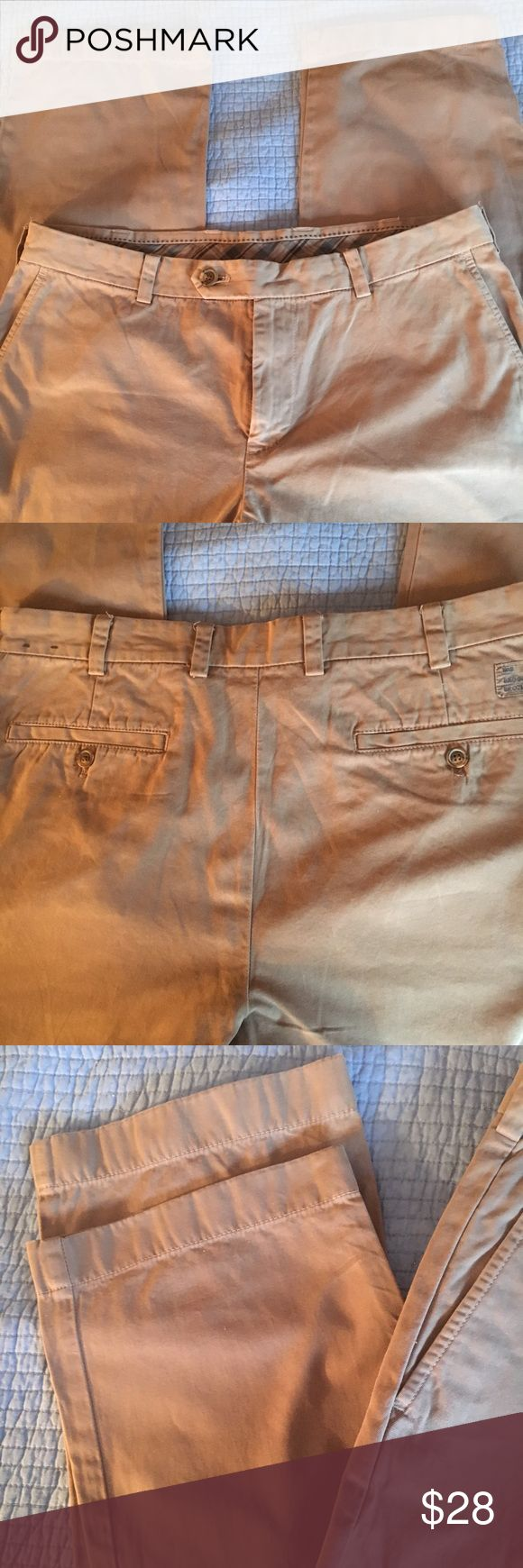 Men Khaki Pants by Brooks Brothers All cotton khaki in a weight perfect for warmer weather. Light gray color. Almost new condition. Brooks Brothers Pants Chinos & Khakis