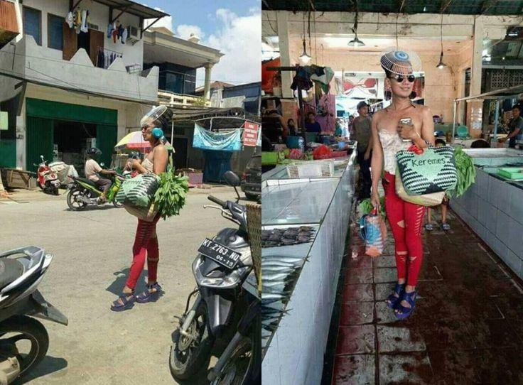 VIRAL Pembeli Sayur Jadi-Jadian yang Dandan Glamour ala Syahrini