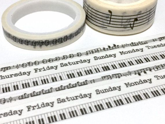 3 Rolls Music Note Piano Key Weekly Planner Washi Tape Music Theme Slim Tape Masking Tape Music Leaning Sticker Tap Washi Tape Planner Washi Tape Planner Washi