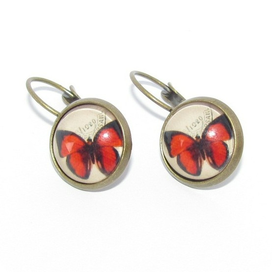 Red butterfly cabochon