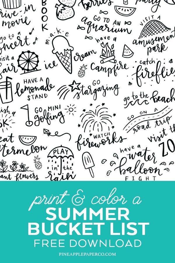 Summer Bucket List Free Printable Coloring Page Summer Bucket List Printable Printable Coloring Pages Free Printable Coloring Pages
