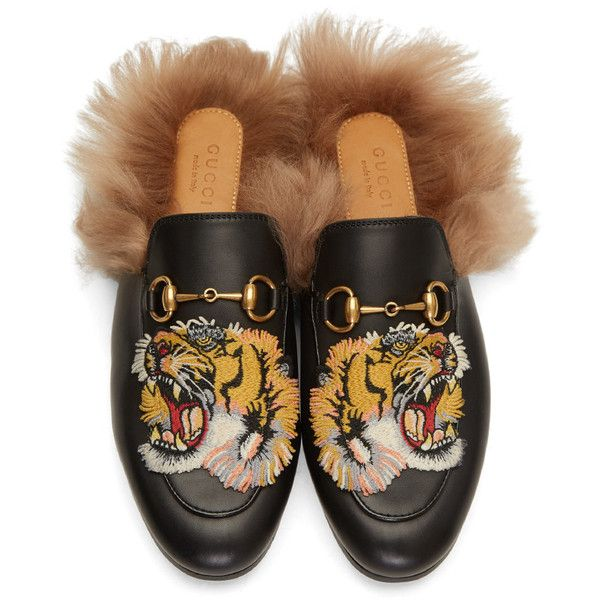 Gucci Black Tiger Princetown Slip-On Loafers ($880) ❤ liked on Polyvore featuring shoes, loafers, black horsebit loafers, loafer shoes, black shoes, embroidered shoes and slip on shoes