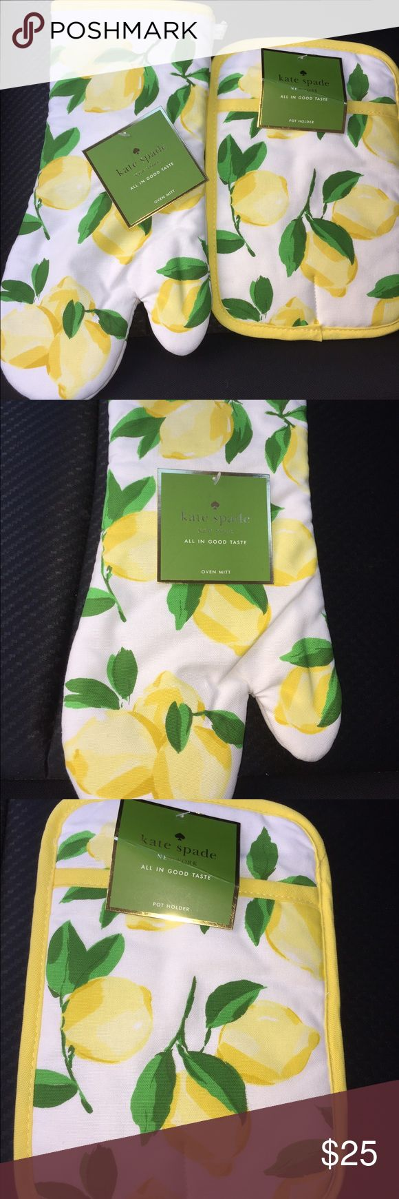 NWT Kate Spade Oven Mit and Pot Holder Beautiful lemon kitchen oven mitt and pot holder. Would make a fantastic gift! kate spade Other