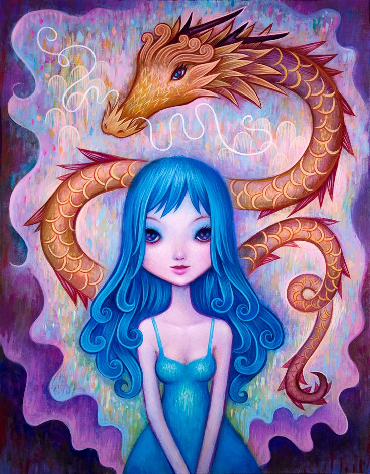 Girl with Dragon, 11x 14 inches, Acrylic on Wood, 2014. All Rights Reserved | Jeremiah Ketner