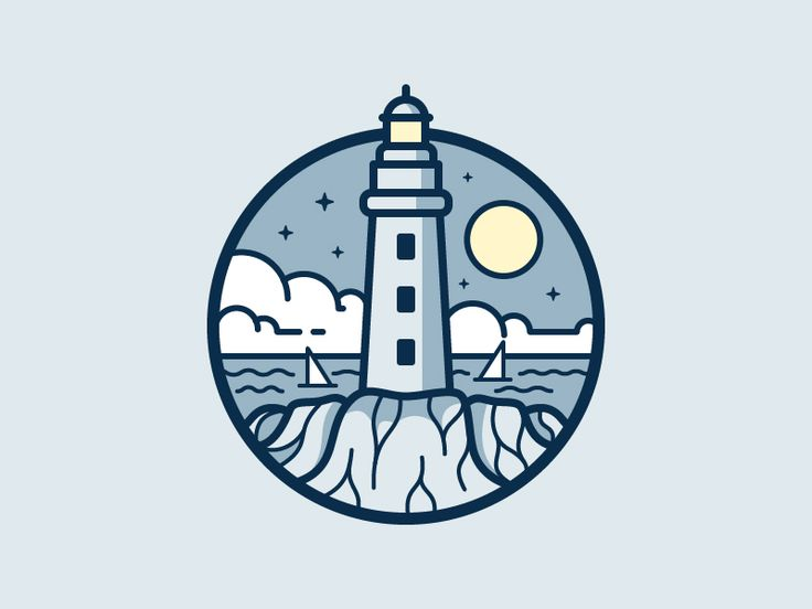 The lighthouse is pretty weak but the waves and rocks which the lighthouse sits atop is definitely an inspiration! Loving how the boats/sailing ships are marked with a simple line below to signify movement in the sea too!