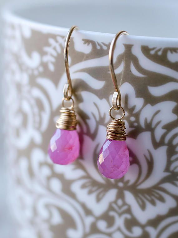 Gorgeous Pink Sapphire Earrings, Delicate Precious Gemstone Jewelry, Dangle Earrings, Wire Wrapped Earrings handmade by BoutiqueBaltique.  NATURAL PINK SAPPHIRE DROP EARRINGS  ✓ Top quality metal: 14k gold filled, 14k rose gold filled or sterling silver. ✓ Natural African pink sapphire microfaceted briolettes measure with beautiful faceting. Sapphire is a September birthstone. Sapphire is a 5th and a 45th Anniversary gemstone.