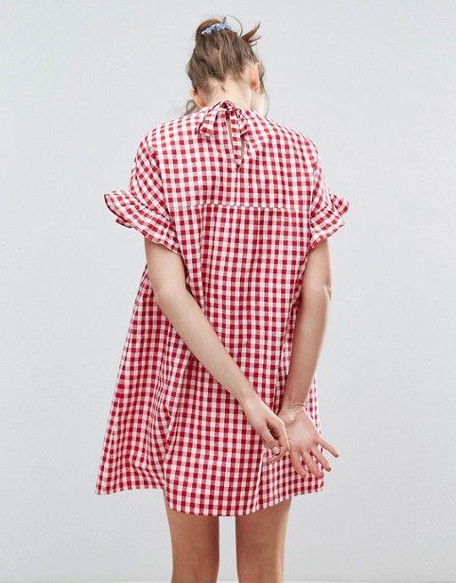 Red Gingham Print Smock Dress