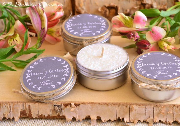 Latitas con velas aromaticas, detalles de boda. Hechas a mano y personalizadas para cada celebración.