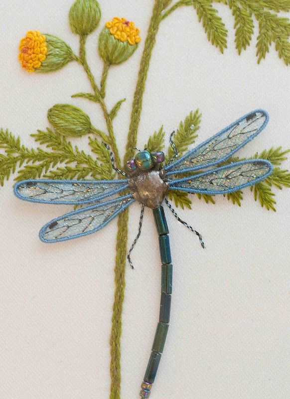 Bead & stitch dragonfly: Jane Nicholas, Sewing, Embroidery, Needlework, Plays, Stumpwork Embroidery, Dragonfly, Stitches, Crafts